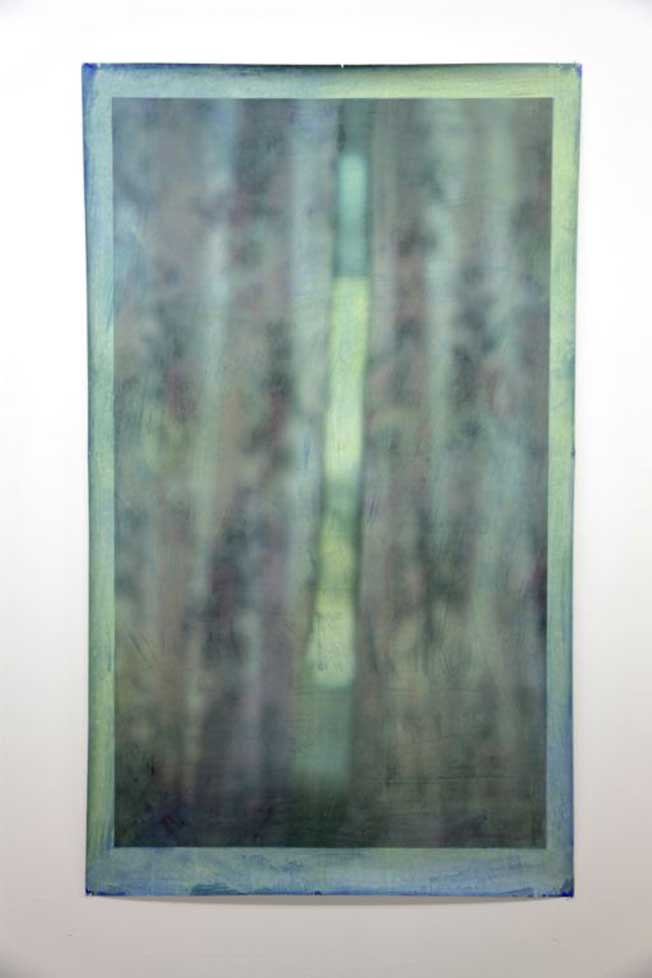 Curtains (pale green) 2013, oil on print, 154 x 91cm