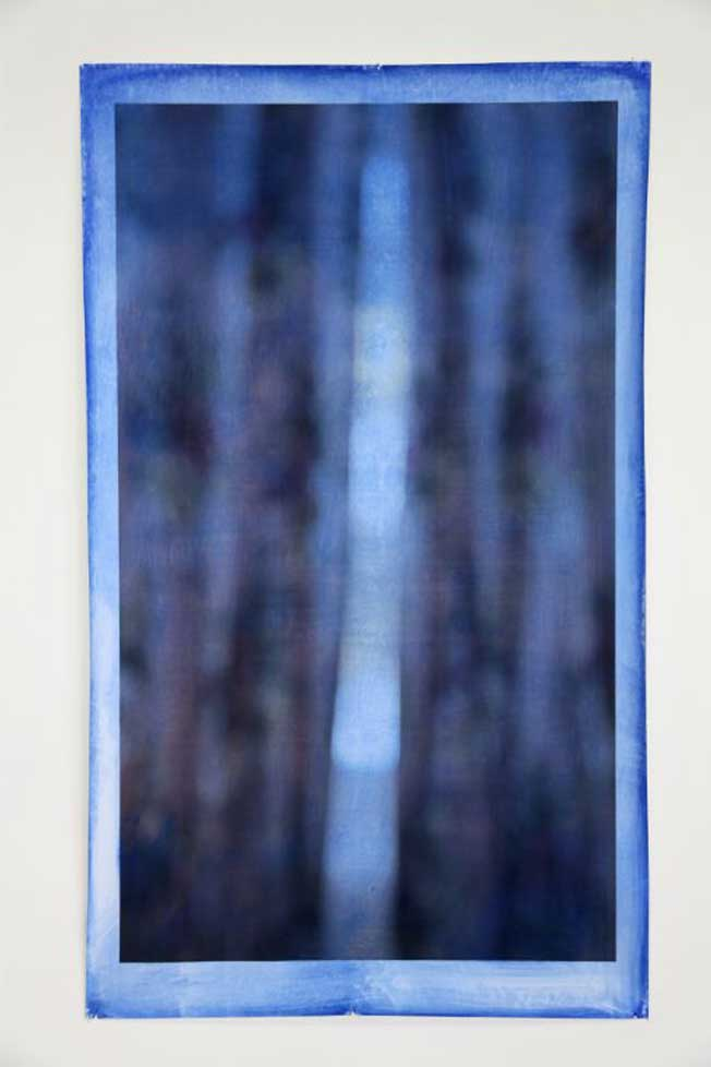 Curtains (blue) 2013, oil on print, 154 x 91cm