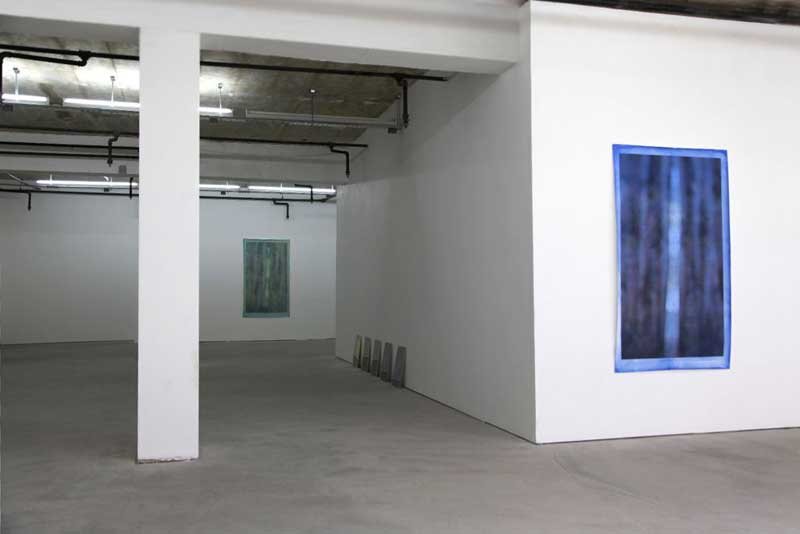 Globe Gallery installation view: Curtains (blue) and Curtains (pale green)