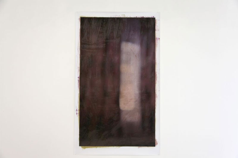 Curtains (burnt umber) 2013, oil on print, 154 x 91cm