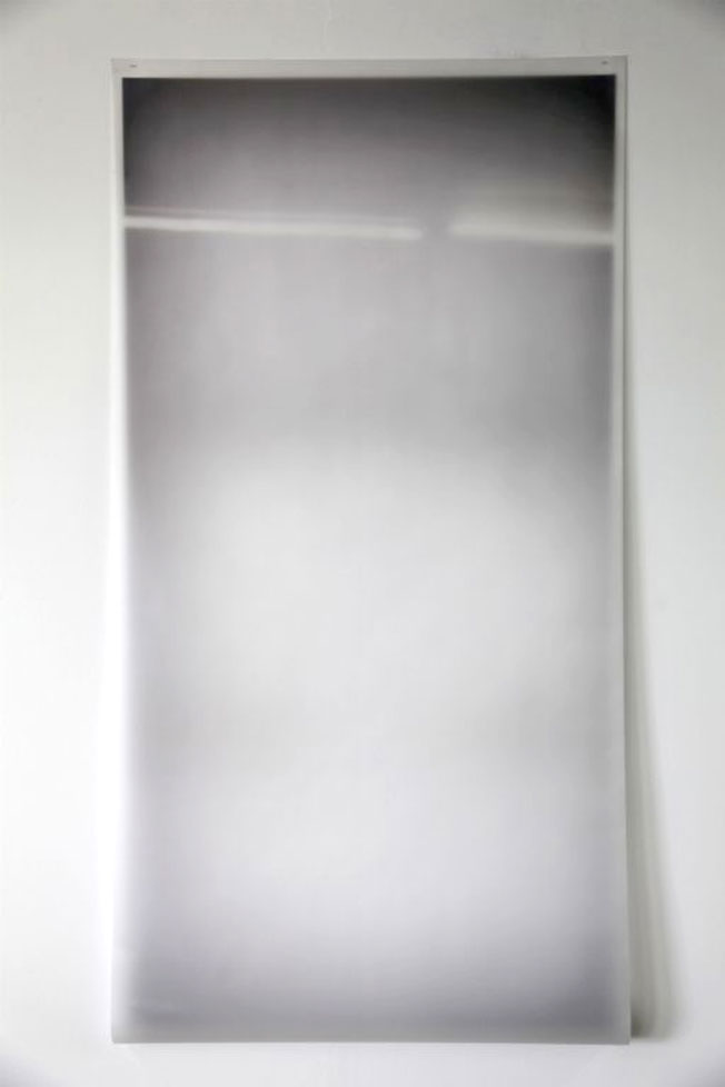 Strip light reflection 2013, photo on semi-opaque film, tracing paper, 175 x 91cm